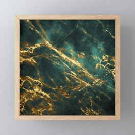 Glamorous Green Faux Marble Pattern With Gold Veins Framed Mini Art Print
