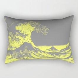 The Great Wave Yellow & Gray Rectangular Pillow