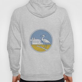 Great Blue Heron Farm Barn Circle Retro Hoody