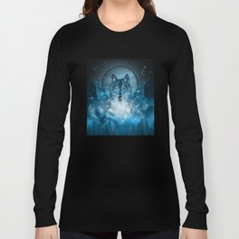 wolf in blue Long Sleeve T-shirt
