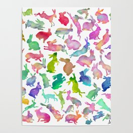 Watercolour Bunnies Poster
