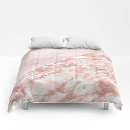 Rose gold & pinks marble Comforters