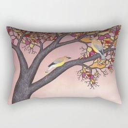 cedar waxwings on the stained glass tree Rectangular Pillow