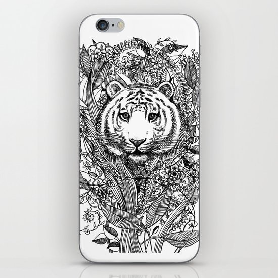 Tiger Tangle in Black and White iPhone & iPod Skin