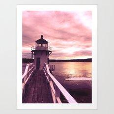 Pink Sky Over Doubling Point Light Art Print