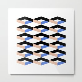 Retro Geometric Abstract Repeat Pattern Metal Print