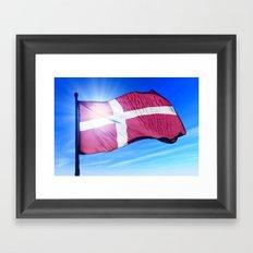 Denmark flag waving on the wind Framed Art Print