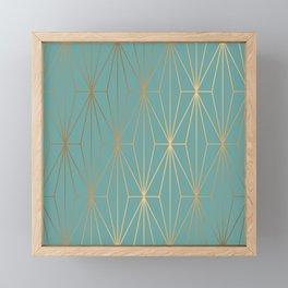 ELEGANT BLUE GOLD PATTERN Framed Mini Art Print