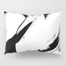 Brushstroke 6: a minimal, abstract, black and white piece Pillow Sham