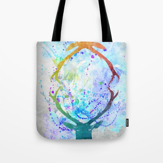 watercolor deer Tote Bag