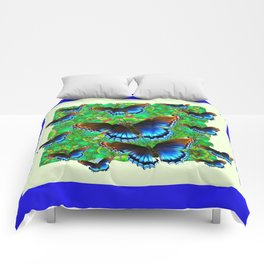 BLUE-BROWN BUTTERFLY GREEN ART Comforters