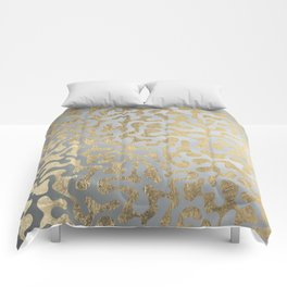 Modern elegant abstract faux gold silver pattern Comforters
