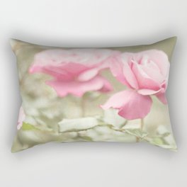 Textured and Pastel roses (vintage flower photography) Rectangular Pillow