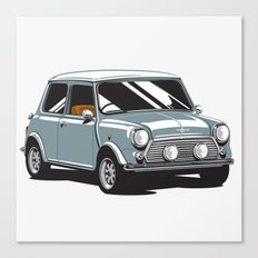 Mini Cooper Car - Gray Canvas Print