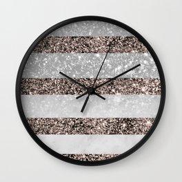 White Marble Rose Gold Glitter Stripe Glam #2 #minimal #decor #art #society6 Wall Clock