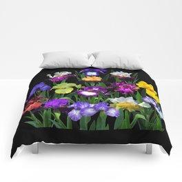 Iris Garden - on black Comforters
