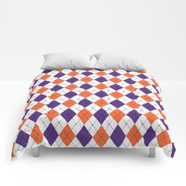 Argyle orange and purple pattern clemson football college university alumni varsity team fan Comforters