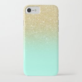 Modern gold ombre mint green block iPhone Case