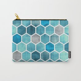 Blue Honey Comb Carry-All Pouch