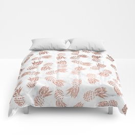 Modern faux rose gold pineapples white marble pattern Comforters