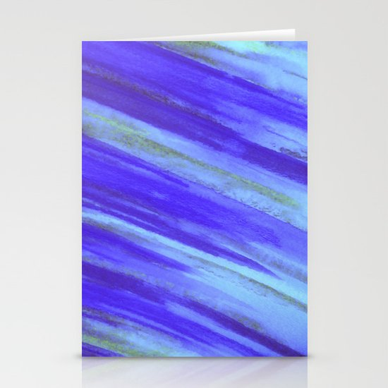 WASHED UP - Bold Blue Stripes Abstract Watercolor Painting Colorful Fun Surfer Ocean Waves Stationery Cards