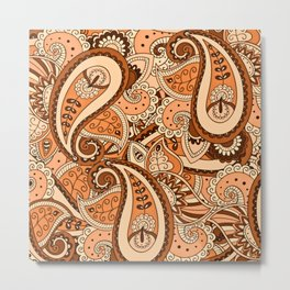 African Pattern No22 Brown Metal Print