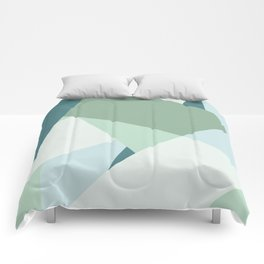 Modern abstract beach color block geometric stripes blue green pattern Comforters