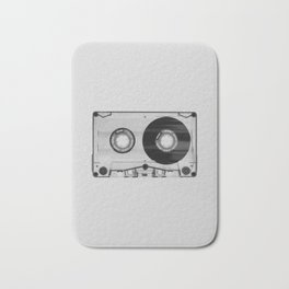 Vintage 80's Cassette - Black and White Retro Eighties Technology Art Print Wall Decor from 1980's Bath Mat