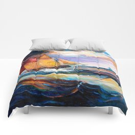 Fishing boats in the sea at sunset Comforters