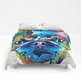 Colorful Pug Art - Smug Pug - By Sharon Cummings Comforters