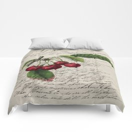 shabby elegance french country botanical illustration vintage red cherry Comforters