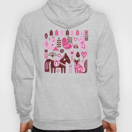 Raspberry And Cream Scandinavian Folk Art Forest Friends Hoody