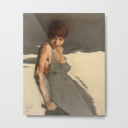 The Dress' Nude Figure Expressive Painting of Female Woman Black and White  Metal Print