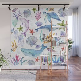 under the sea watercolor Wall Mural