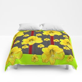LIME-GREY YELLOW AMARYLLIS BLACK-RED DECO ART Comforters