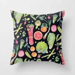 Spring Harvest Pattern Dark Throw Pillow