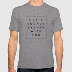 Music Sounds Better With You Tri-Grey LARGE Mens Fitted Tee