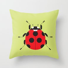 Lady Bug Yellow Throw Pillow
