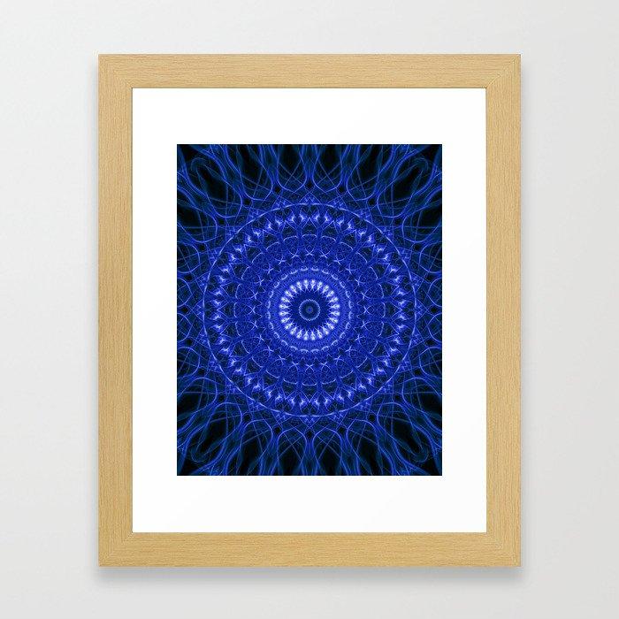 Dark blue mandala Framed Art Print