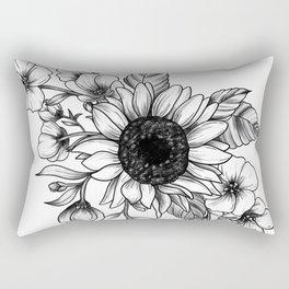Bouquet of Flowers with Sunflower / Fall floral lineart Rectangular Pillow