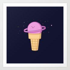 Saturn Cream Cone Art Print