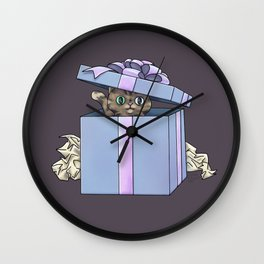 Giftbox Cat Wall Clock