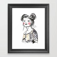 Gwen - Hipster Girl in Marker and Gouache Framed Art Print