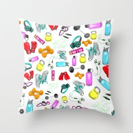 Work Out Items Pattern Throw Pillow
