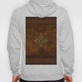 Antique Steampunk Compass Rose & Map Hoody