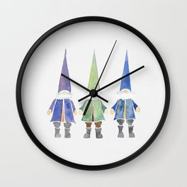 Three funny gnomes Wall Clock