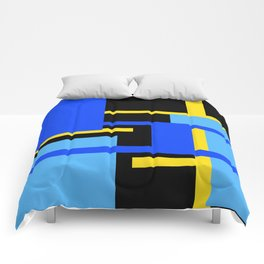 Rectangles - Blues, Yellow and Black Comforters