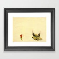 man listening a car burning Framed Art Print