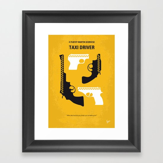No087 My Taxi Driver minimal movie poster Framed Art Print