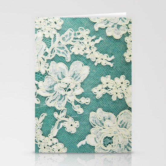 white lace - photo of vintage white lace Stationery Cards